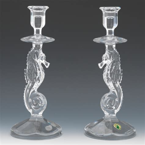 Carpets Waterford by A Pair Of Waterford Crystal Seahorse Candlesticks 09 19