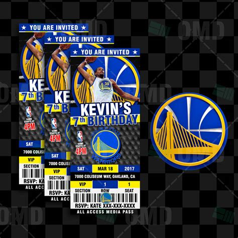 golden state warriors basketball ticket style invite
