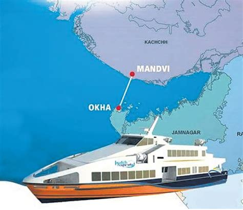 Boat Service In Gujarat by Okha To Mandvi Superfast Ferry Boat Service In Gujarat