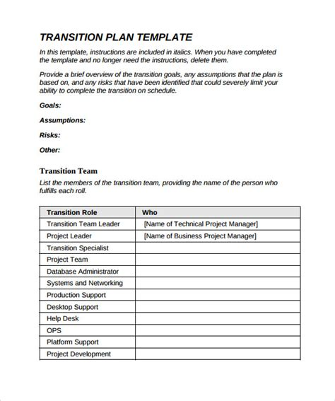 transition plan examples sample transition plan 9 documents in pdf