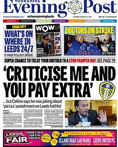 Here is how the @leedsnews front page looks tomorrow ...