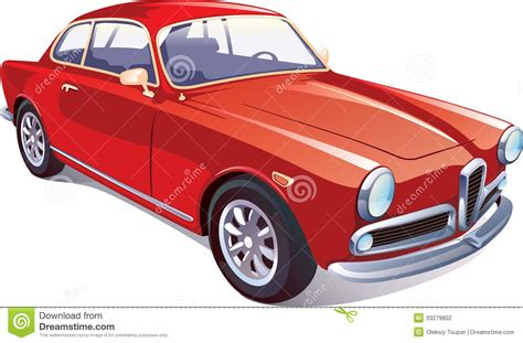 Rotes Klassisches Retro Auto Stockfotografie  Bild 33279802