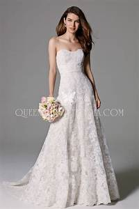 strapless classic traditional a line lace wedding gown With a line wedding dresses sweetheart neckline
