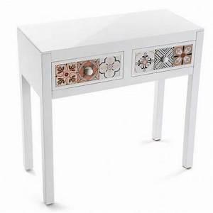 Console D Entrée Blanche : console d entree blanche 2 tiroirs motif oriental versa marrakech ~ Voncanada.com Idées de Décoration