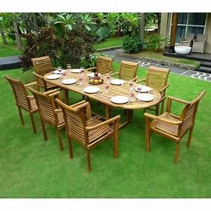 Salon Jardin Teck : ensemble en teck de jardin 8 fauteuils de jardin en teck ~ Melissatoandfro.com Idées de Décoration