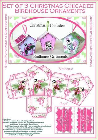 cottage chic christmas chicadee birdhouse ornaments boxes cup craftsuprint