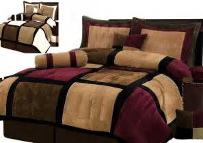 burgundy or white brown and black suede patchwork comforter set bed in a bag ebay