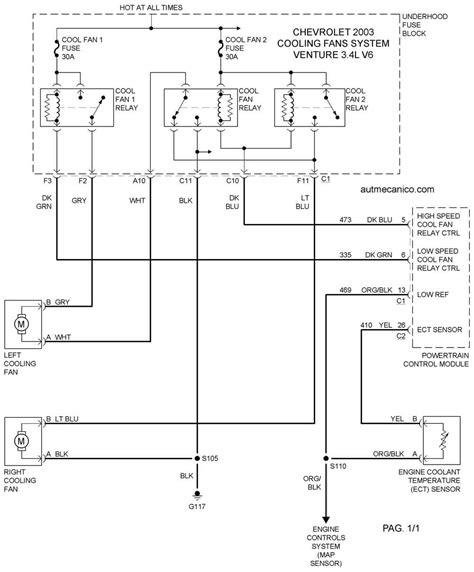 chevrolet cooling fans system diagramas ventiladores abanicos vehiculos 2003 mecanica