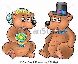 Dessin Couple Mariage Couleur : paire ours mignon mariage mignon illustration ours ~ Melissatoandfro.com Idées de Décoration