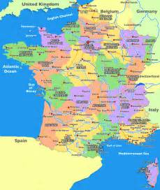 French Map with Cities in France