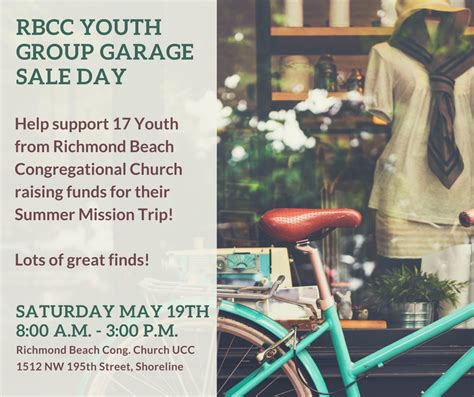 Youth Ministry Garage by Shoreline Area News Rbcc Youth Garage Sale Day Saturday