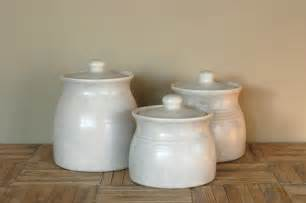 White Kitchen Canisters Vintage White Ceramic Canisters Set Of 3 By Bonnbonn On Etsy
