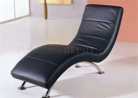 black color leather upholstery modern chaise lounge