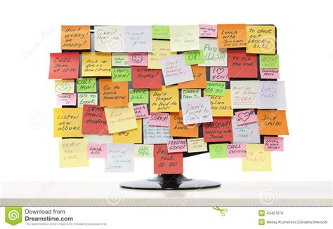 post it bureau pc monitor with post it notes stock photo image of billboard 43427876