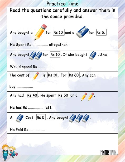 maths worksheets on indian money for grade 2