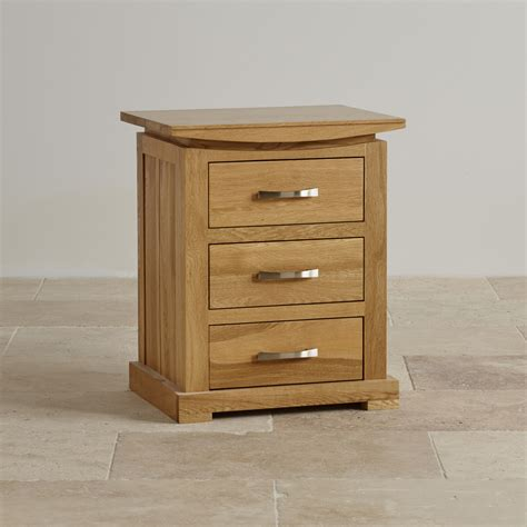 storage end tables for living 3 drawer bedside table in solid oak oak furniture land