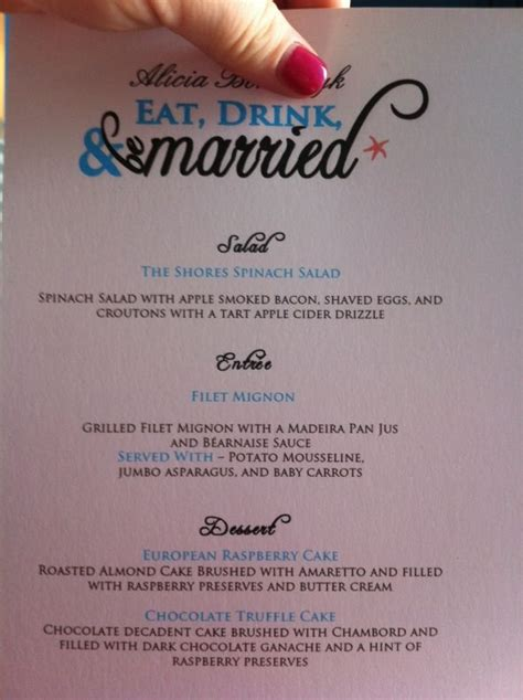 reception menus are finished weddingbee photo gallery
