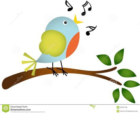 Kleiner Vogel, Der Auf Einem Baumast Singt Vektor