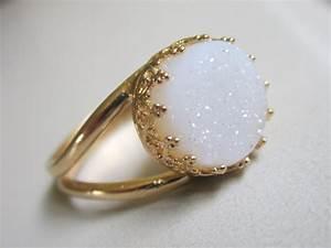 items similar to druzy ring gemstone ring gold ring With druzy wedding ring