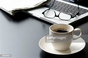 Laptop, And, A, Cup, Of, Coffee, On, Office, Desk, High-res, Stock, Photo