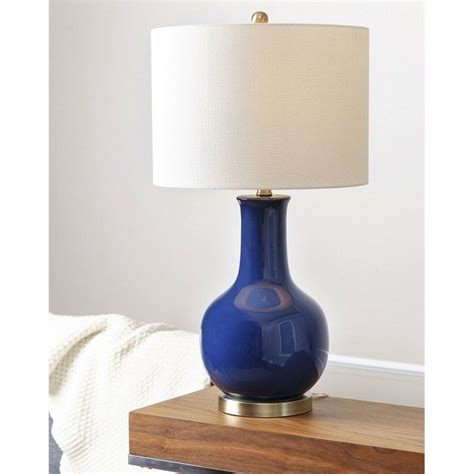 abbyson gourd ceramic table lamp  navy blue sp  nav