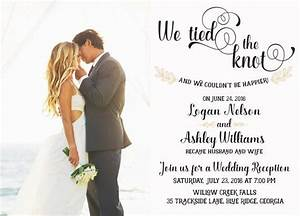 Wedding reception invitation we tied the knot elopement for The knot wedding invitation language