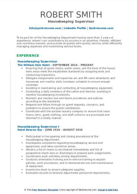 Exles Of Housekeeping Resumes by Housekeeping Supervisor Resume Sles Qwikresume