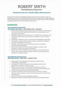 Housekeeper Resume Objective Housekeeping Supervisor Resume Samples Qwikresume