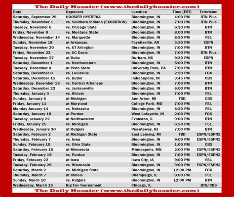 indiana basketball   schedule tv tip times