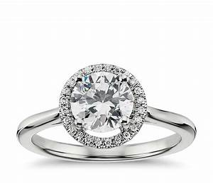 Plain shank floating halo engagement ring in 14k white for Halo wedding ring