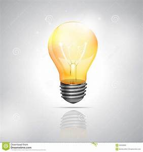 Realistic Light Bulb On The White Background Stock ...