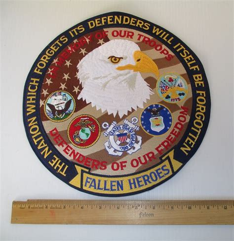military fallen heroes branches patch jacket inch patriotic patches jackets eagle biker vests troops motorcycle army skull vest support