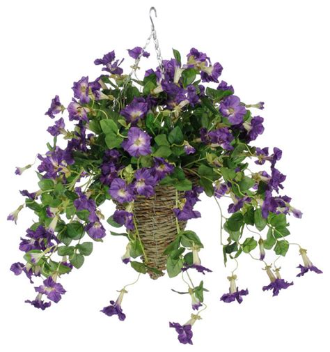 purple hanging plant artificial purple petunia in cone hanging basket traditional artificial plants and trees