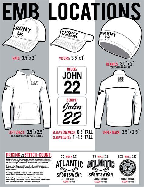embroidery size  locations atlantic sportswear