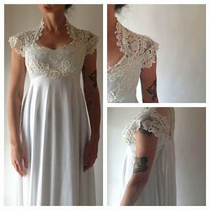 196039s lace and jersey knit wedding gown bridal pinterest for Jersey knit wedding dress
