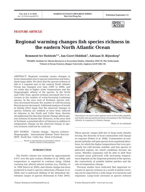 regional warming  fish species richness