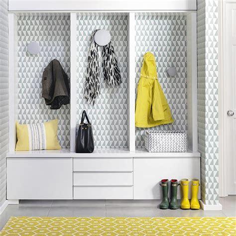 hallway storage  geometric yellow rug scandinavian