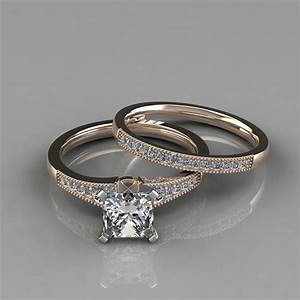 Lab diamonds princess cut graduated milgrain bridal sets rings for Diamond wedding ring images