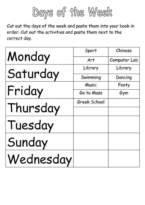 worksheets  days   week activity shelter
