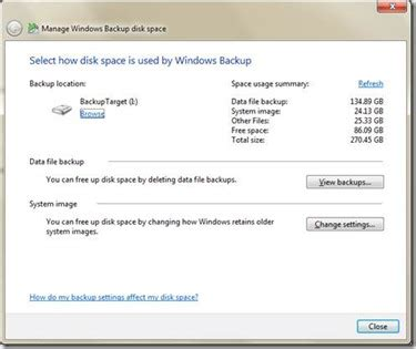 windows 7 backup disk how to manage backup disk space