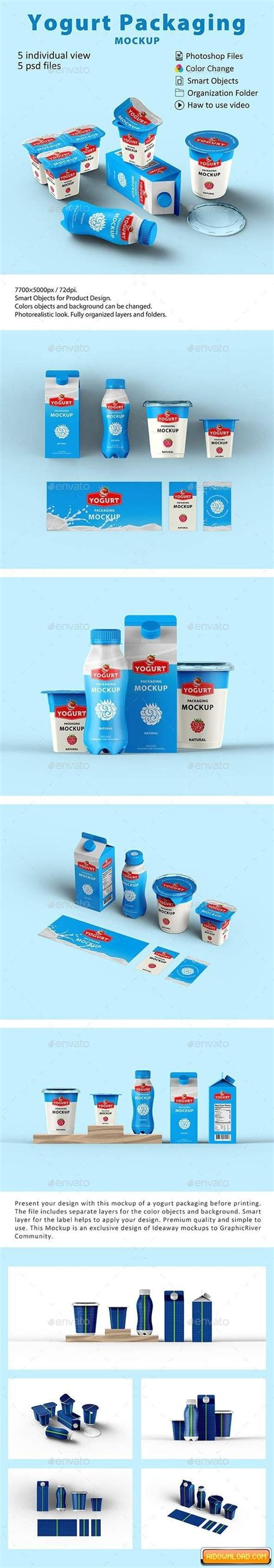 With few additional shots this free box mockup will make your. Yogurt Packaging Mockup   Free Graphic Templates, Fonts ...