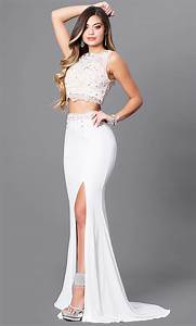 Ivory Two-Piece Prom Dress with Lace - PromGirl