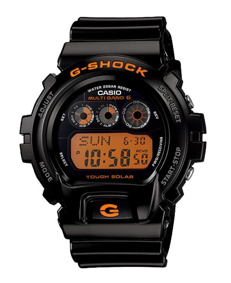 g supply casio g shock quot wave solar digital black orange gw 6900b 1jf rakuten global market