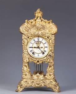 Ansonia, Fancy, Gilt, Brass, Shelf, Clock
