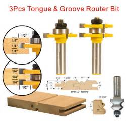 3pcs tongue groove router bit set 1 2 inch shank 3 teeth t shape wood milling cutter flooring