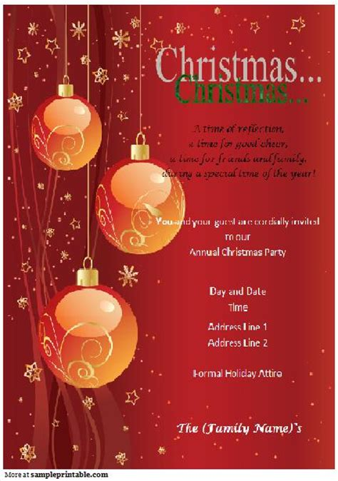 free christmas party template free printable invitations templates theruntime