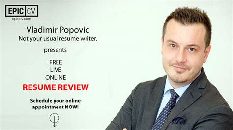 Resume Review by Free Live Resume Review With Vladimir Popovic From Epic Cv