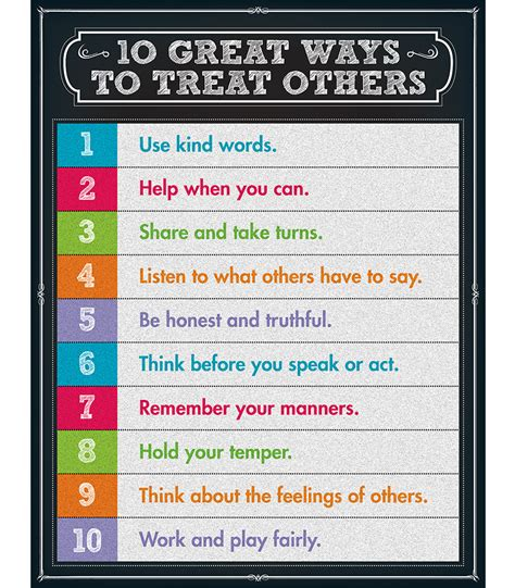 10 Great Ways To Treat Others Chart Grade 18  Carsondellosa Publishing
