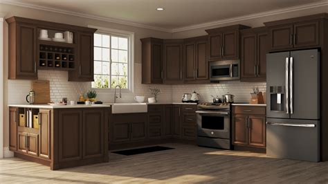 hampton wall kitchen cabinets  cognac kitchen  home depot