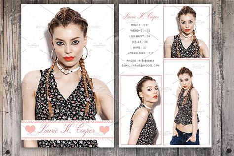 model comp card template modeling comp card template card templates creative market